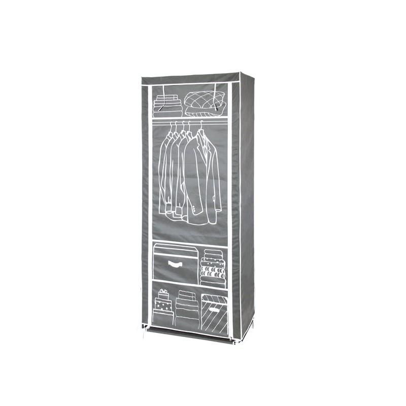 Armadio abiti in stoffa tnt con 4 ripiani e barra for Armadio in stoffa